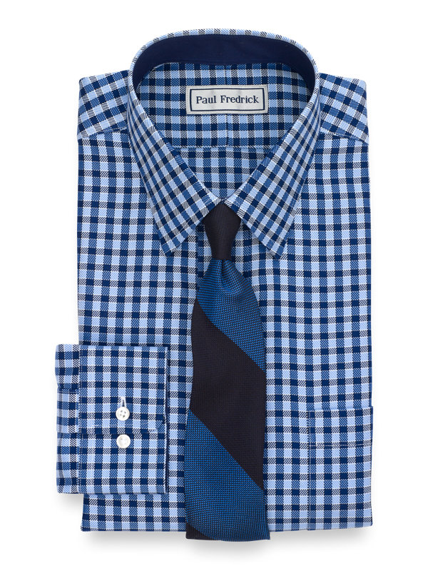 Tailored Fit Impeccable Non-Iron Cotton Gingham Dress Shirt with Contrast Trim