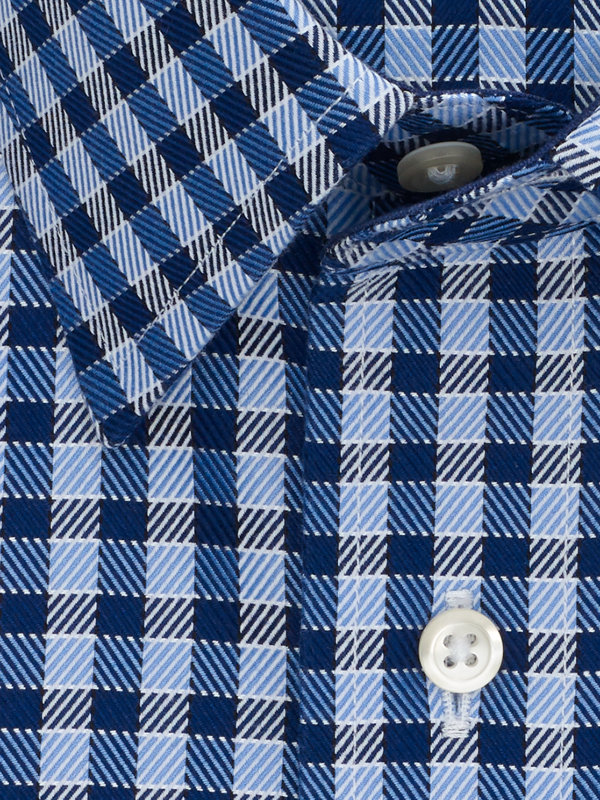 Slim Fit Impeccable Non-Iron Cotton Gingham Dress Shirt with Contrast Trim