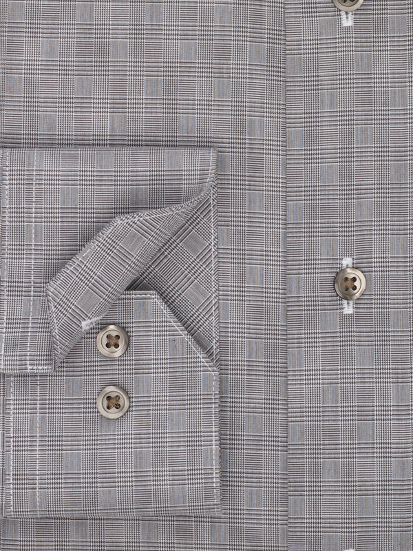 Non-Iron Cotton Broadcloth Glen Plaid Dress Shirt with Contrast Trim