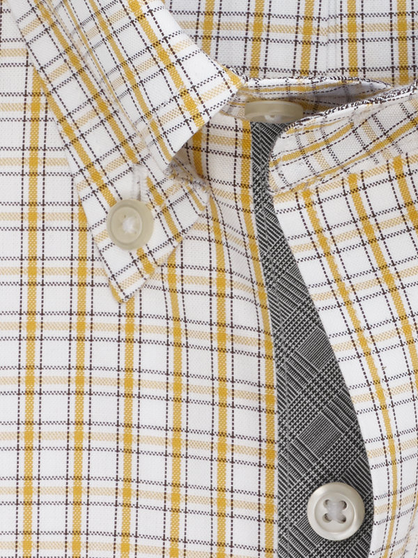Slim Fit Non-Iron Cotton Pinpoint Tattersall Dress Shirt with Contrast Trim