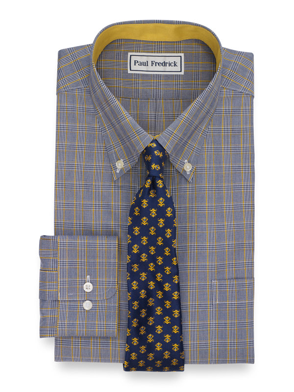 Non-Iron Cotton Pinpoint Plaid Dress Shirt with Contrast Trim