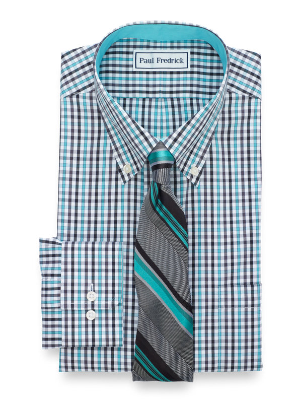 Tailored Fit Non-Iron Cotton Pinpoint Tattersall Dress Shirt with Contrast Trim