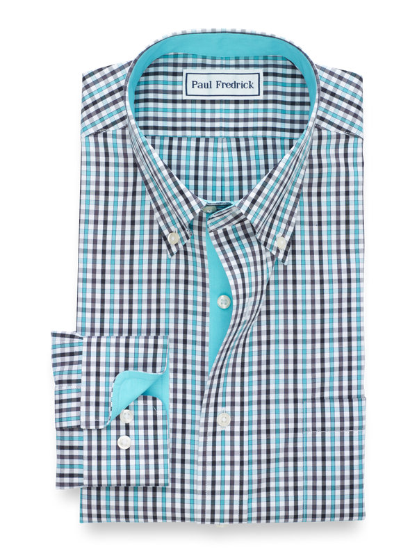 Slim Non-Iron Cotton Pinpoint Tattersall Dress Shirt with Contrast Trim