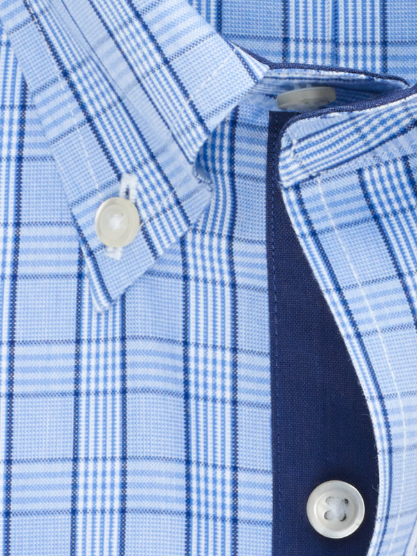 Non-Iron Cotton Pinpoint Glen Plaid Dress Shirt with Contrast Trim