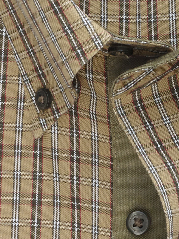 Tailored Fit Non-Iron Cotton Pinpoint Plaid Dress Shirt with Contrast Trim