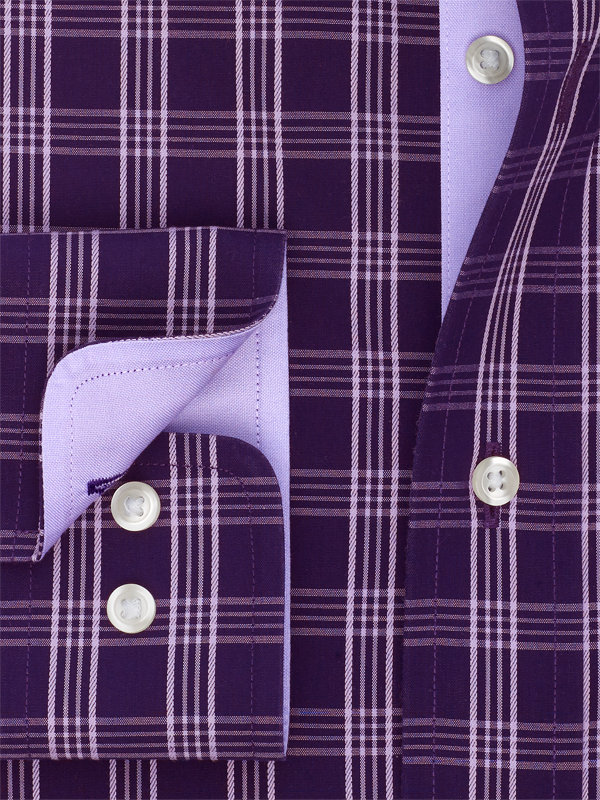 Non-Iron Cotton Windowpane Dress Shirt with Contrast Trim