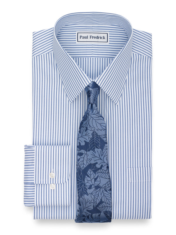Tailored Fit Non-Iron Cotton Pinpoint Stripe Dress Shirt