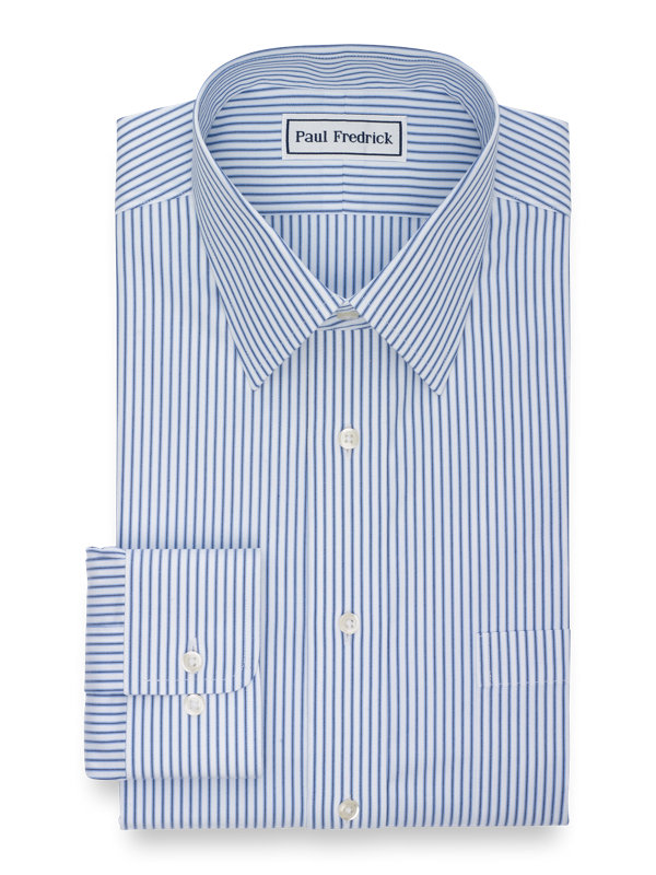 Slim Fit Non-Iron Cotton Pinpoint Stripe Dress Shirt