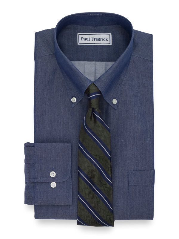 Tailored Fit Non-Iron Cotton Solid Dress Shirt