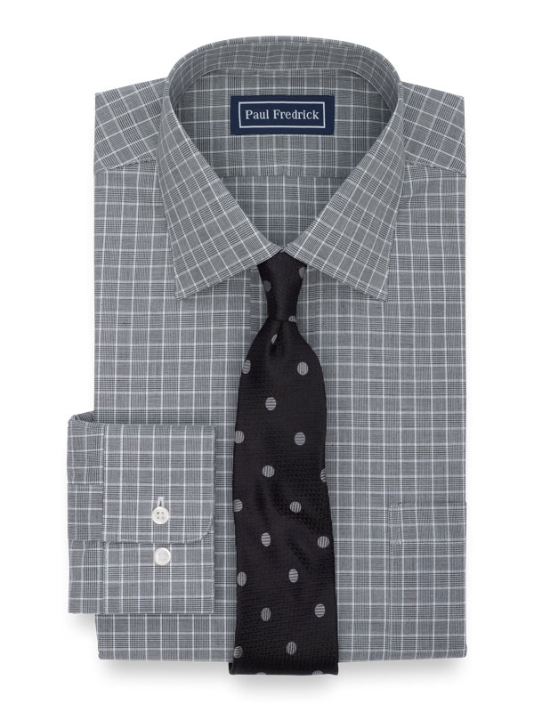 Slim Fit Pure Cotton Plaid Button Cuff Dress Shirt