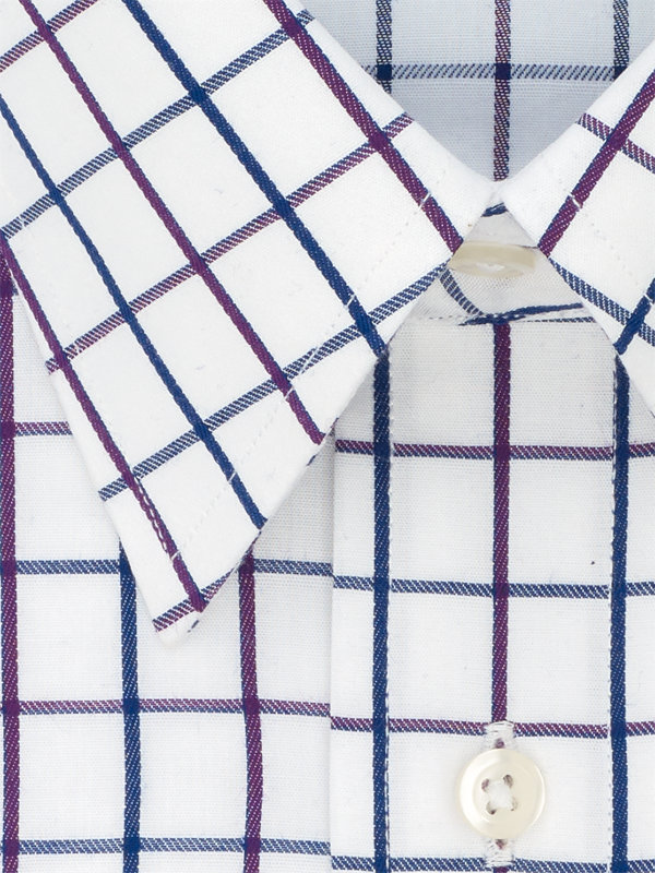Pure Cotton Satin Windowpane Button Cuff Dress Shirt