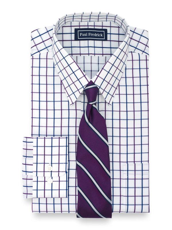 Slim Fit Pure Cotton Satin Windowpane Button Cuff Dress Shirt
