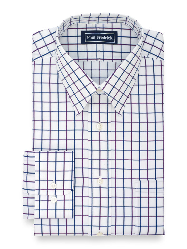 Slim Fit Pure Cotton Satin Windowpane Button Cuff Dress Shirt