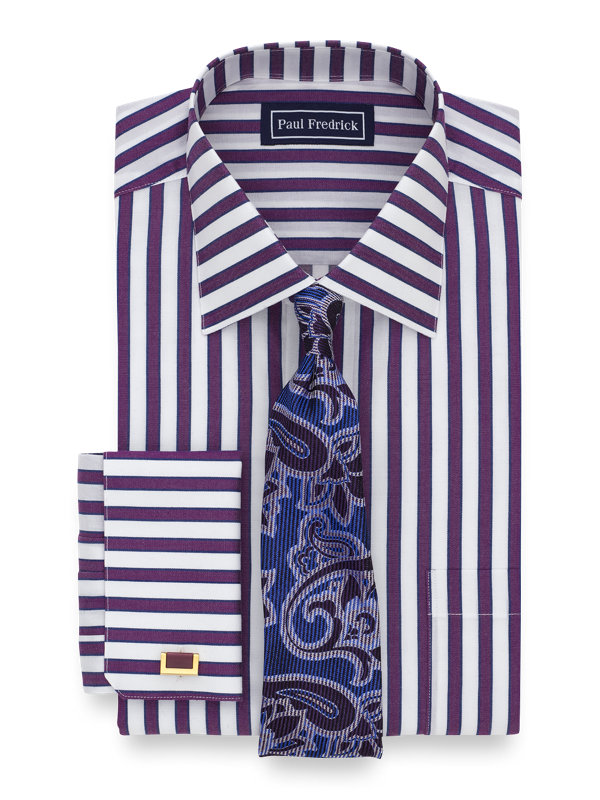 Pure Cotton Shadow Stripe French Cuff Dress Shirt