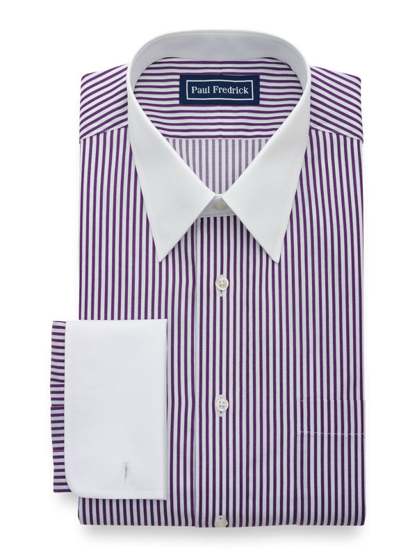 Slim Fit Pure Cotton Bengal Stripe French Cuff Dress Shirt