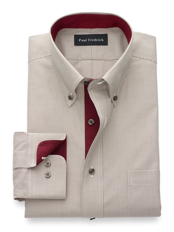 Non-Iron Cotton Mini Check Dress Shirt with Contrast Trim