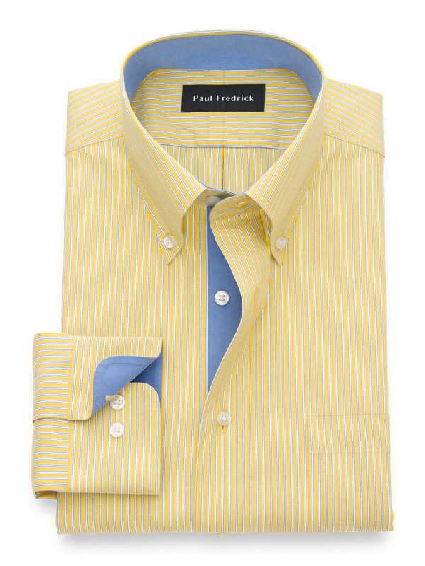 Tailored Fit Non-Iron Cotton Twin Stripe Dress Shirt with Contrast Trim