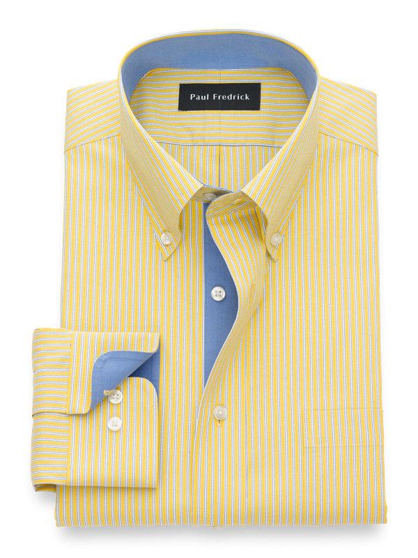 Slim Fit Non-Iron Cotton Twin Stripe Dress Shirt with Contrast Trim