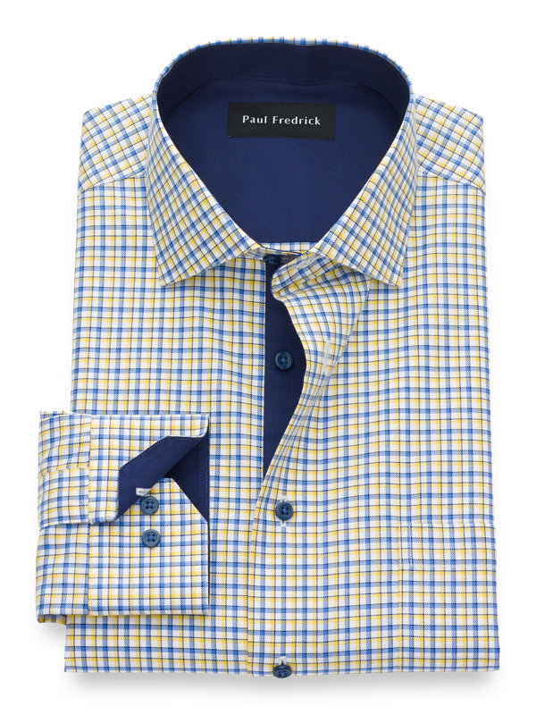 Slim Fit Non-Iron Cotton Tattersall Dress Shirt with Contrast Trim