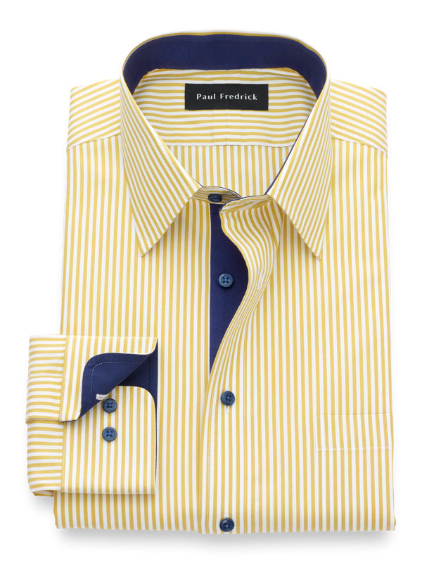 Non-Iron Cotton Bengal Stripe Dress Shirt with Contrast Trim