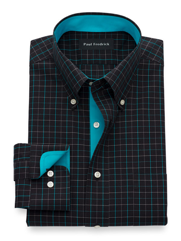 Non-Iron Cotton Tattersall Dress Shirt with Contrast Trim