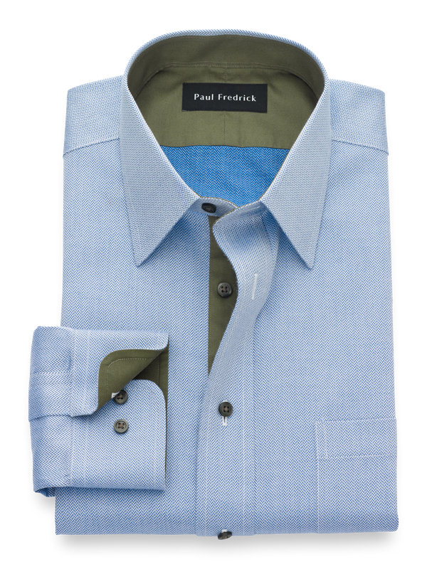 Slim Fit Non-Iron Cotton Herringbone Dress Shirt with Contrast Trim