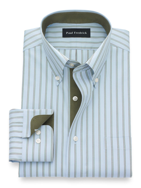 Non-Iron Cotton Twin Stripe Dress Shirt with Contrast Trim