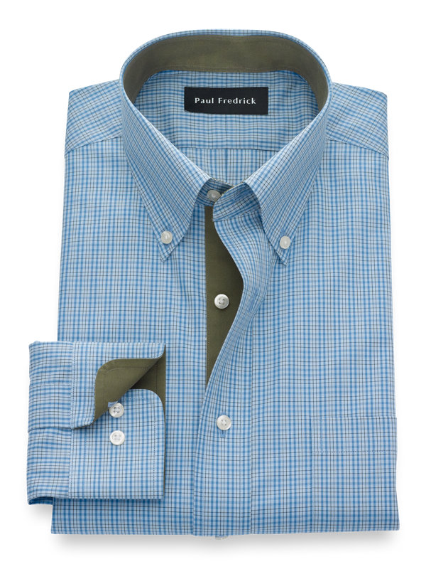 Slim Fit Non-Iron Cotton Check Dress Shirt with Contrast Trim