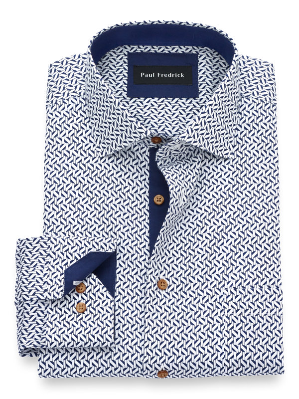 Non-Iron Cotton Deco Print Dress Shirt with Contrast Trim