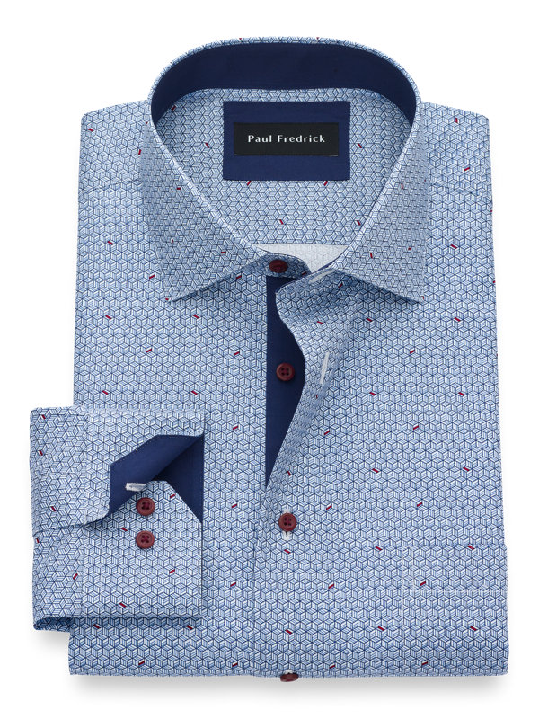 Non-Iron Cotton Geometric Print Dress Shirt with Contrast Trim