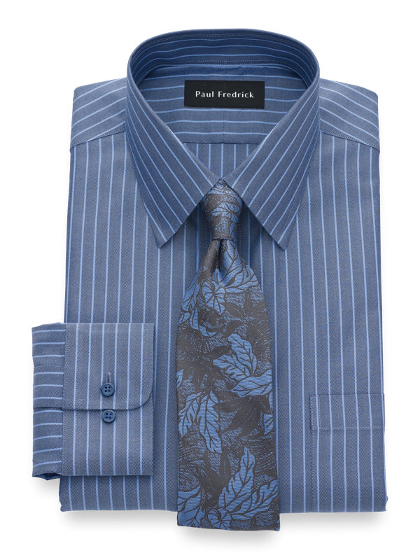 Tailored Fit Non-Iron Cotton Herringbone Dress Shirt