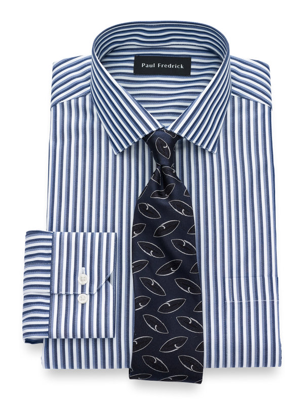 Slim Fit Non-Iron Cotton Framed Stripe Dress Shirt