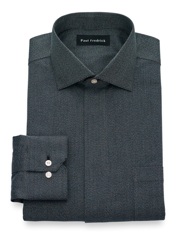 Slim Fit Non-Iron Cotton Textured Solid Dress Shirt