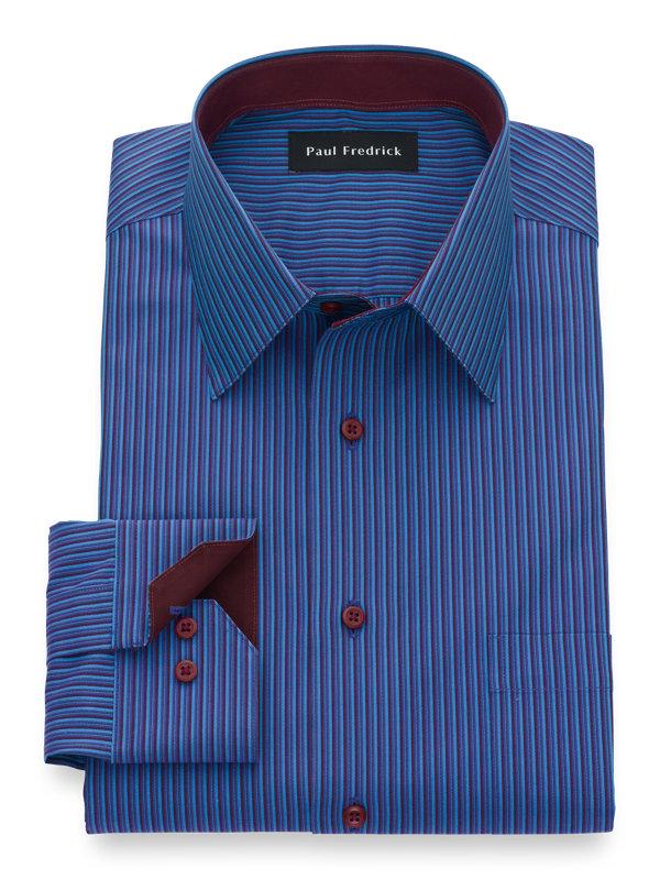 Non-Iron Supima Cotton Stripe Dress Shirt with Contrast Trim