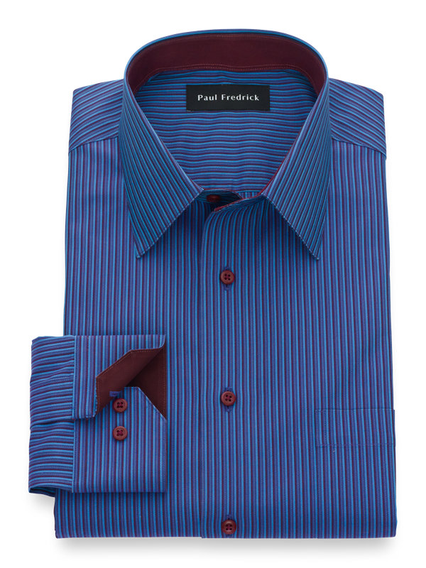 Tailored Fit Non-Iron Supima Cotton Stripe Dress Shirt with Contrast Trim