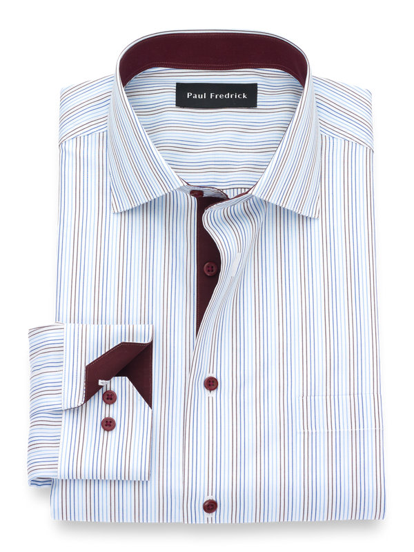 Slim Fit Non-Iron Supima Cotton Stripe Dress Shirt with Contrast Trim