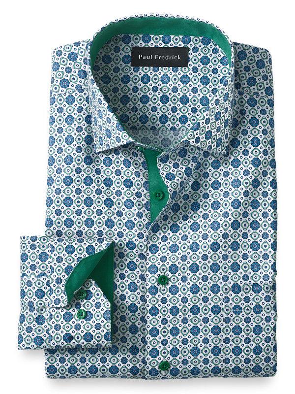 Slim Fit Non-Iron Cotton Medallion Print Dress Shirt with Contrast Trim