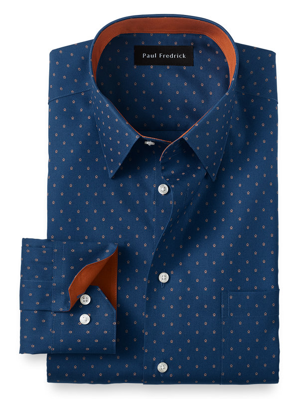 Tailored Fit Non-Iron Cotton Dot Print Dress Shirt with Contrast Trim