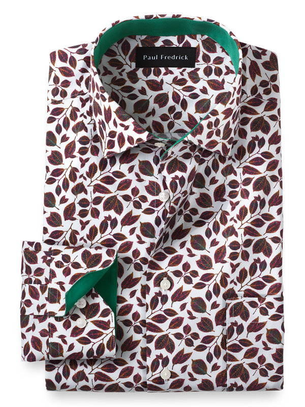 Tailored Fit Non-Iron Cotton Leaf Print Dress Shirt with Contrast Trim