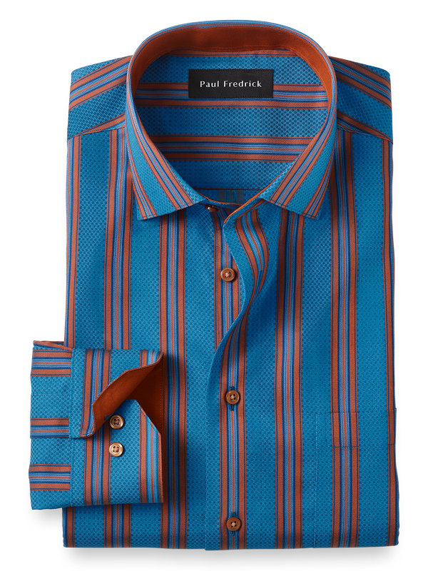 Tailored Fit Non-Iron Cotton Satin Stripe Dress Shirt with Contrast Trim