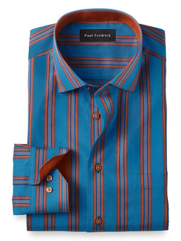 Slim Fit Non-Iron Cotton Satin Stripe Dress Shirt with Contrast Trim