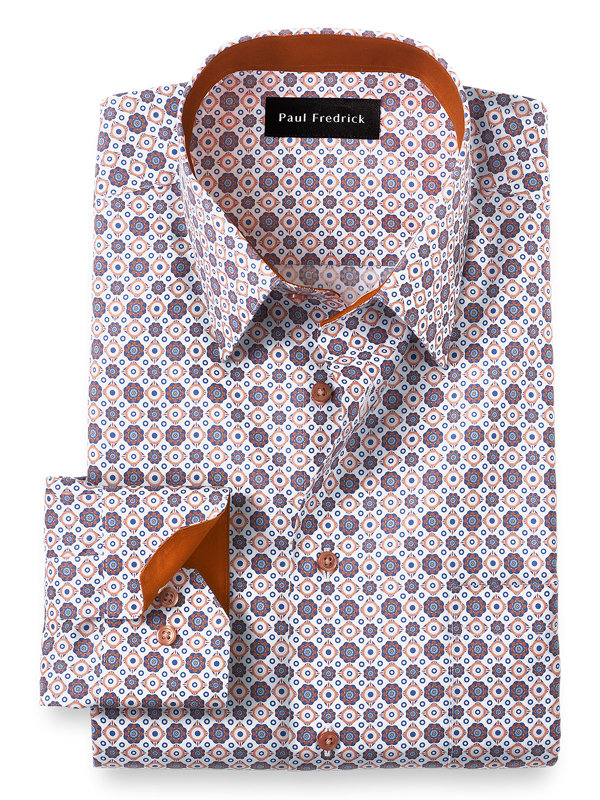 Tailored Fit Non-Iron Cotton Medallion Print Dress Shirt with Contrast Trim