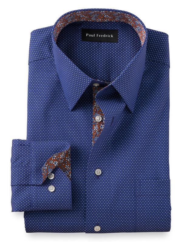 Non-Iron Cotton Dot Print Dress Shirt with Contrast Trim