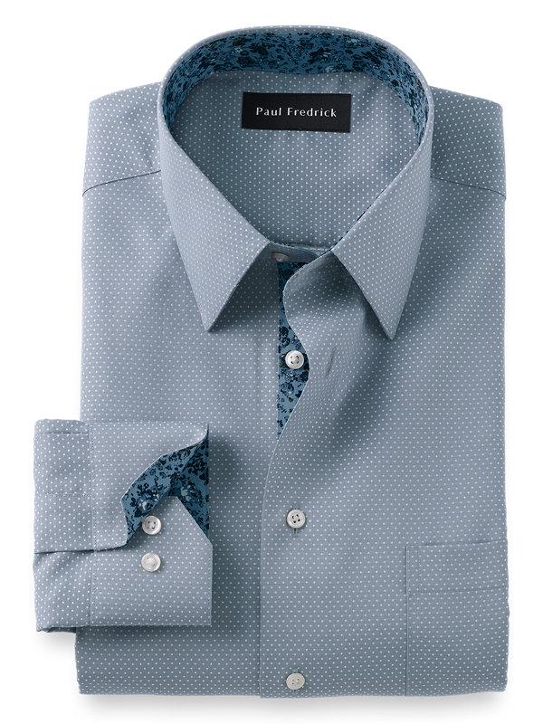 Slim Fit Non-Iron Cotton Dot Print Dress Shirt with Contrast Trim