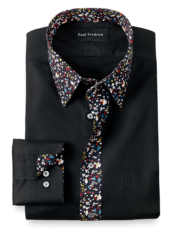 Slim Fit Non-Iron Cotton Solid Dress Shirt with Contrast Trim