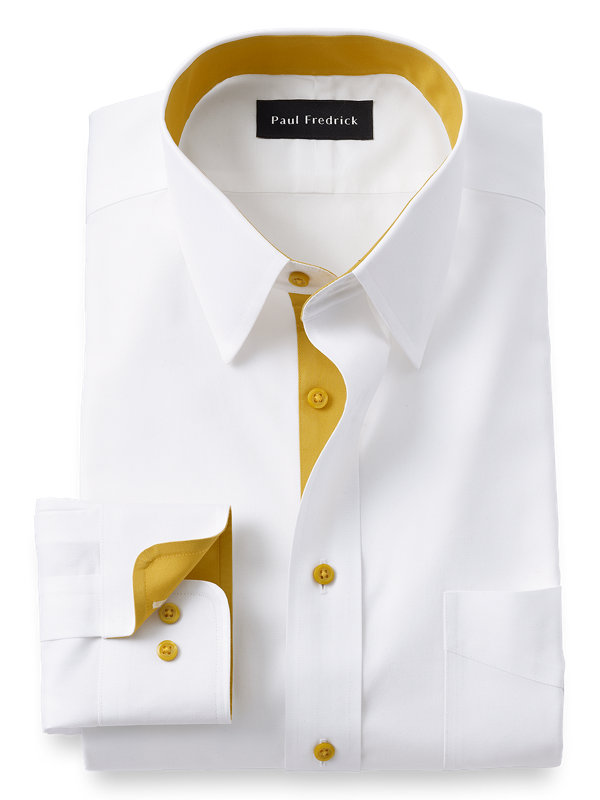 Non-Iron Cotton Point Dress Shirt with Contrast Trim