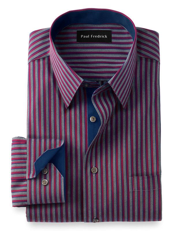 Slim Fit Non-Iron Cotton Stripe Dress Shirt with Contrast Trim
