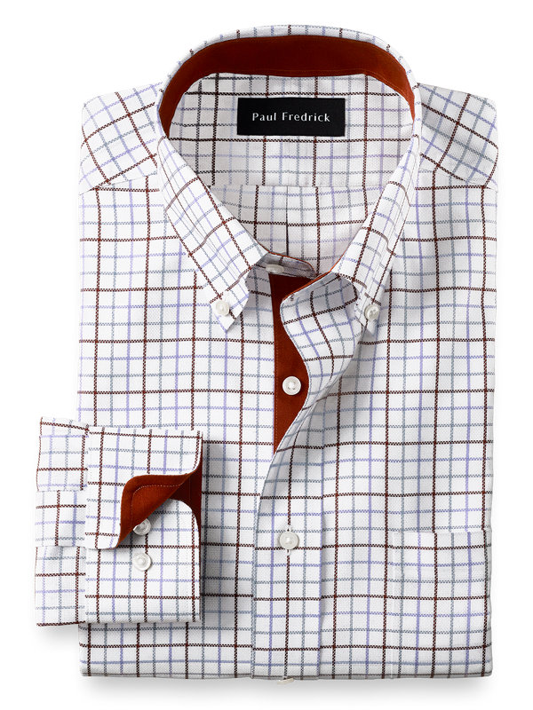Tailored Fit Non-Iron Cotton Tattersall Dress Shirt with Contrast Trim