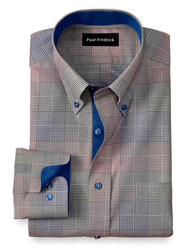 Non-Iron Cotton Plaid Dress Shirt with Contrast Trim