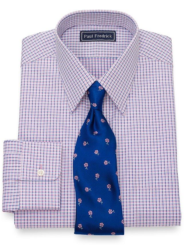 Cotton Satin Check Dress Shirt